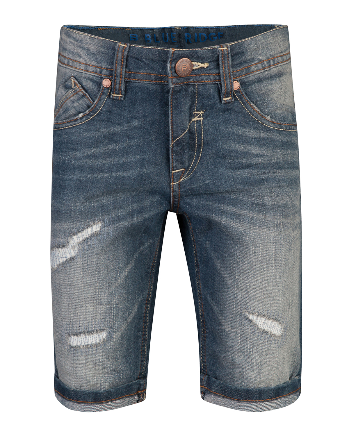 Jongens regular fit rip  and  repair denim short