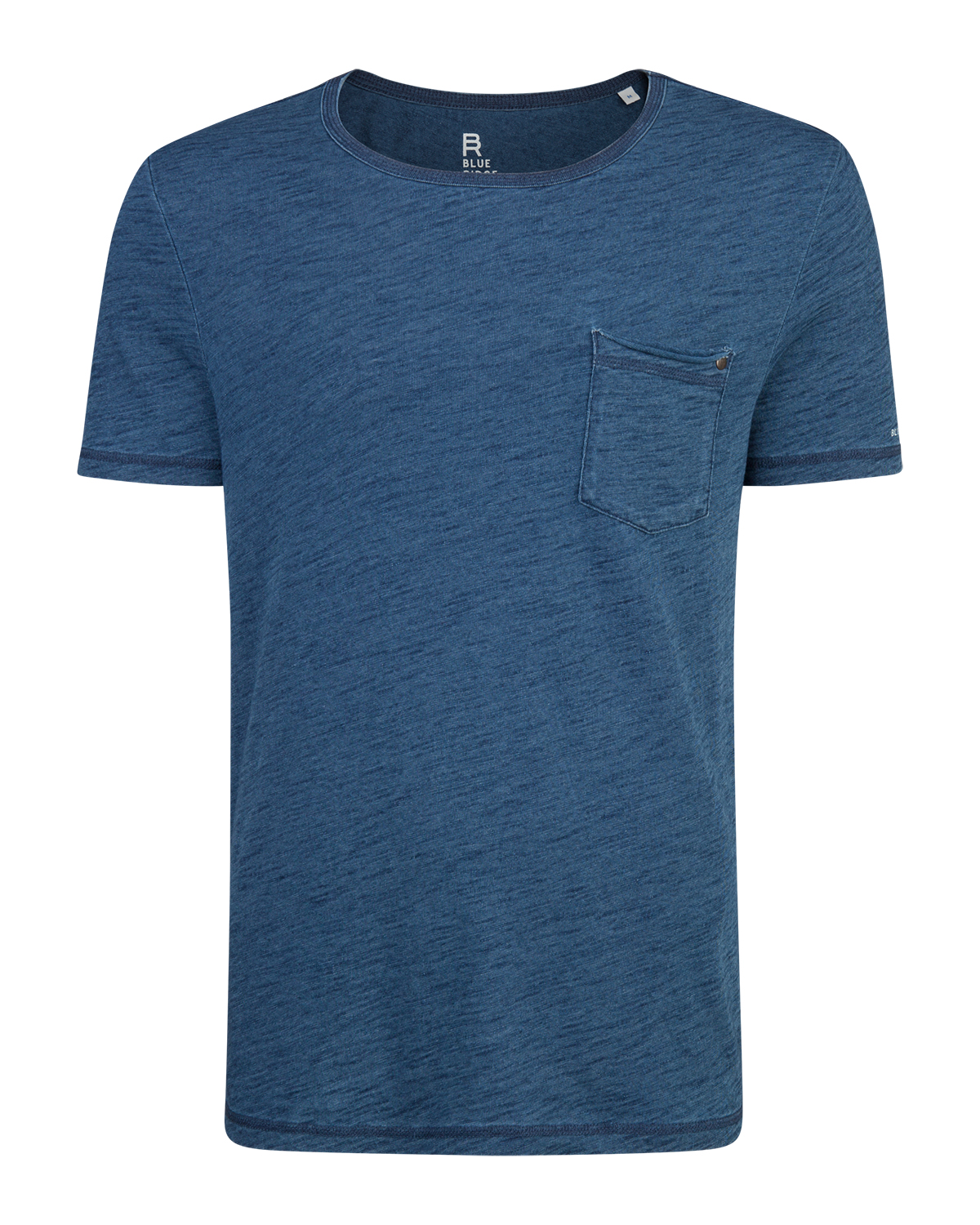 Heren one pocket indigo dyed t-shirt