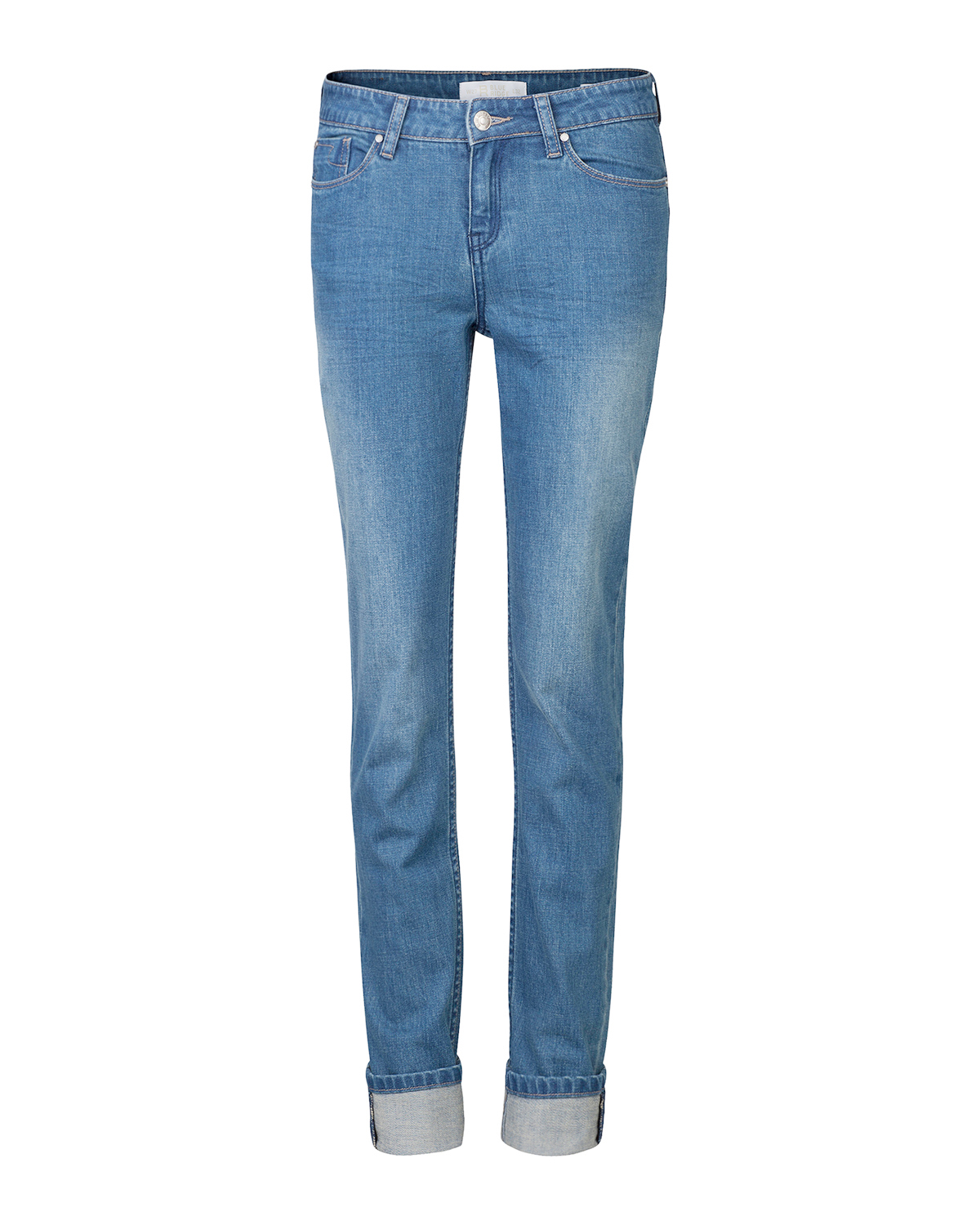 Dames mid rise slim straight jeans