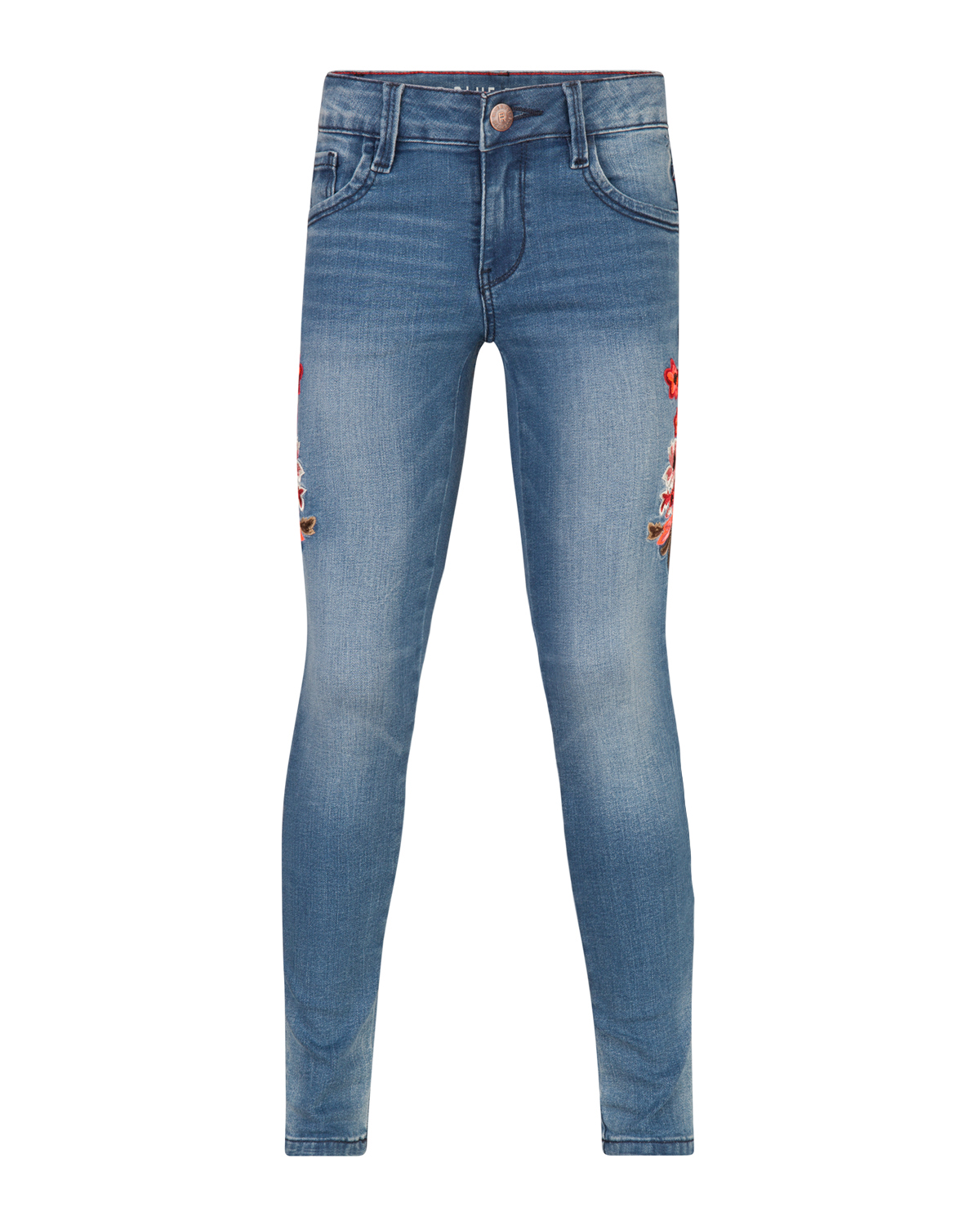 Meisjes super skinny power stretch flower jeans
