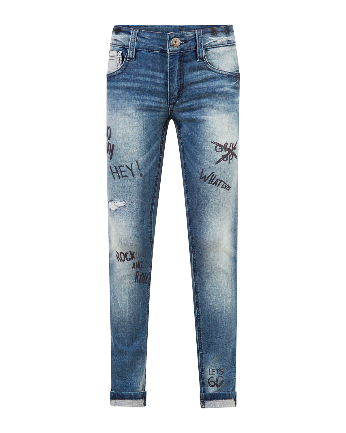 Jongens super skinny power stretch repair text jeans