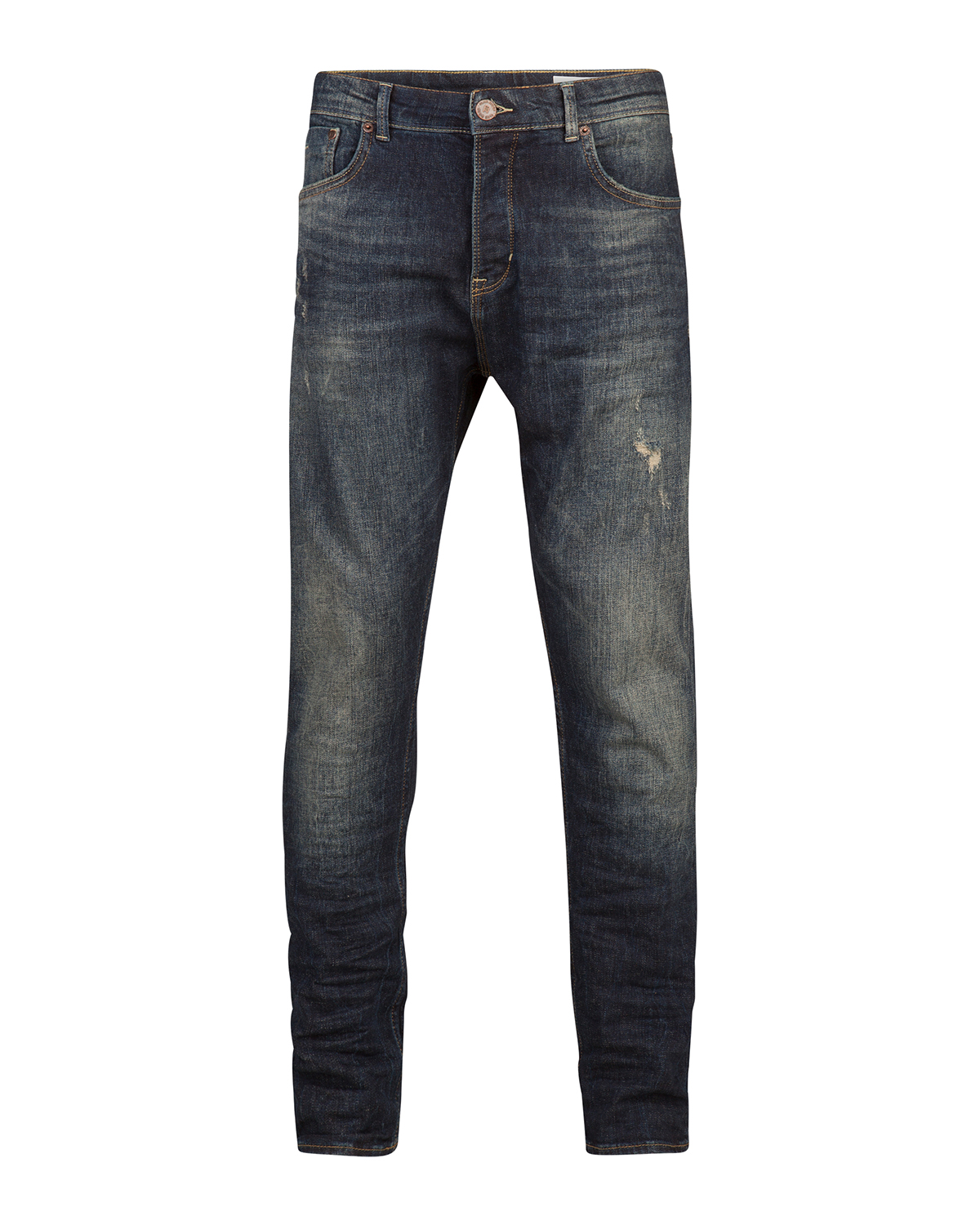 Heren loose tapered comfort stretch repair jeans