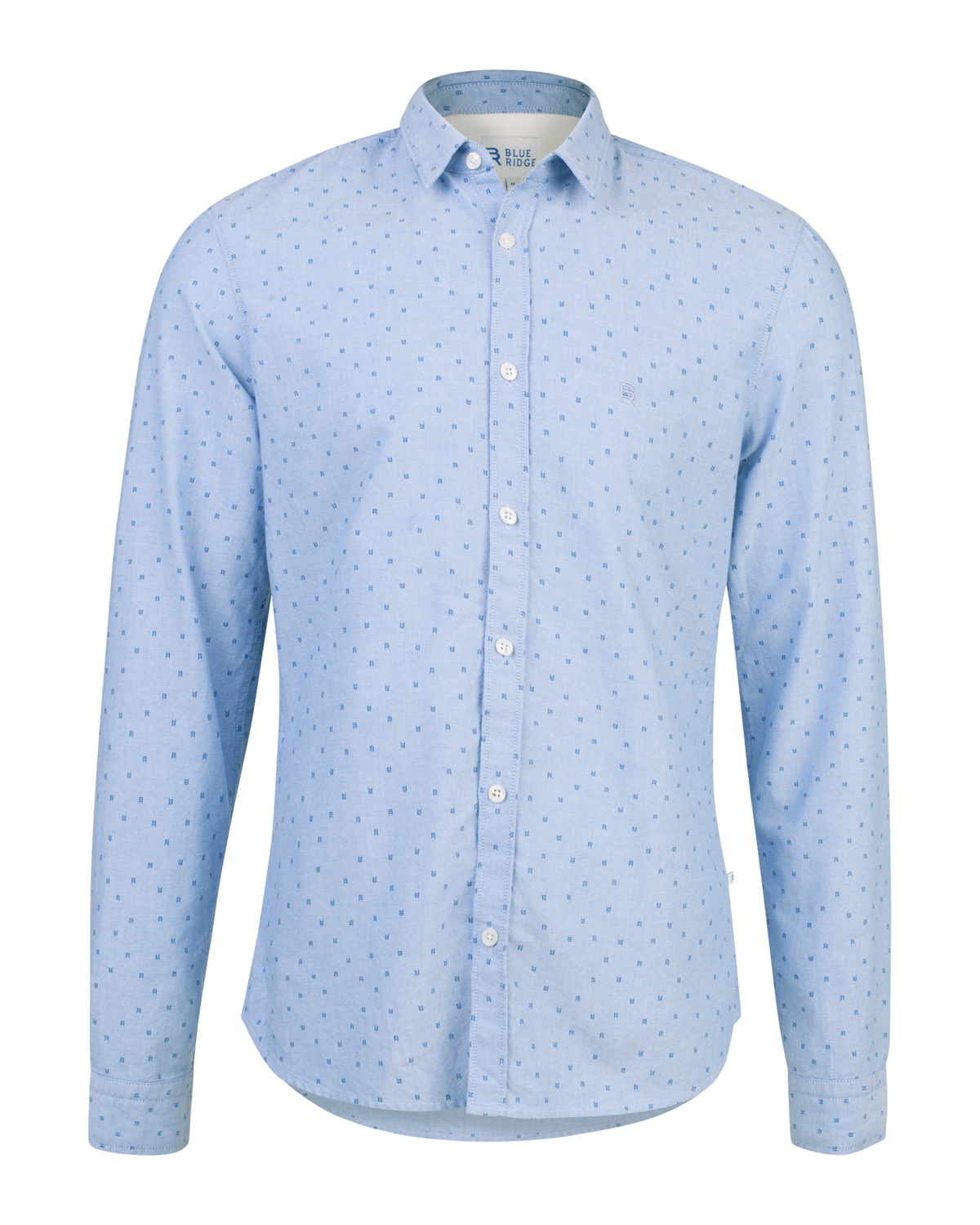 Heren slim fit blue ridge print overhemd