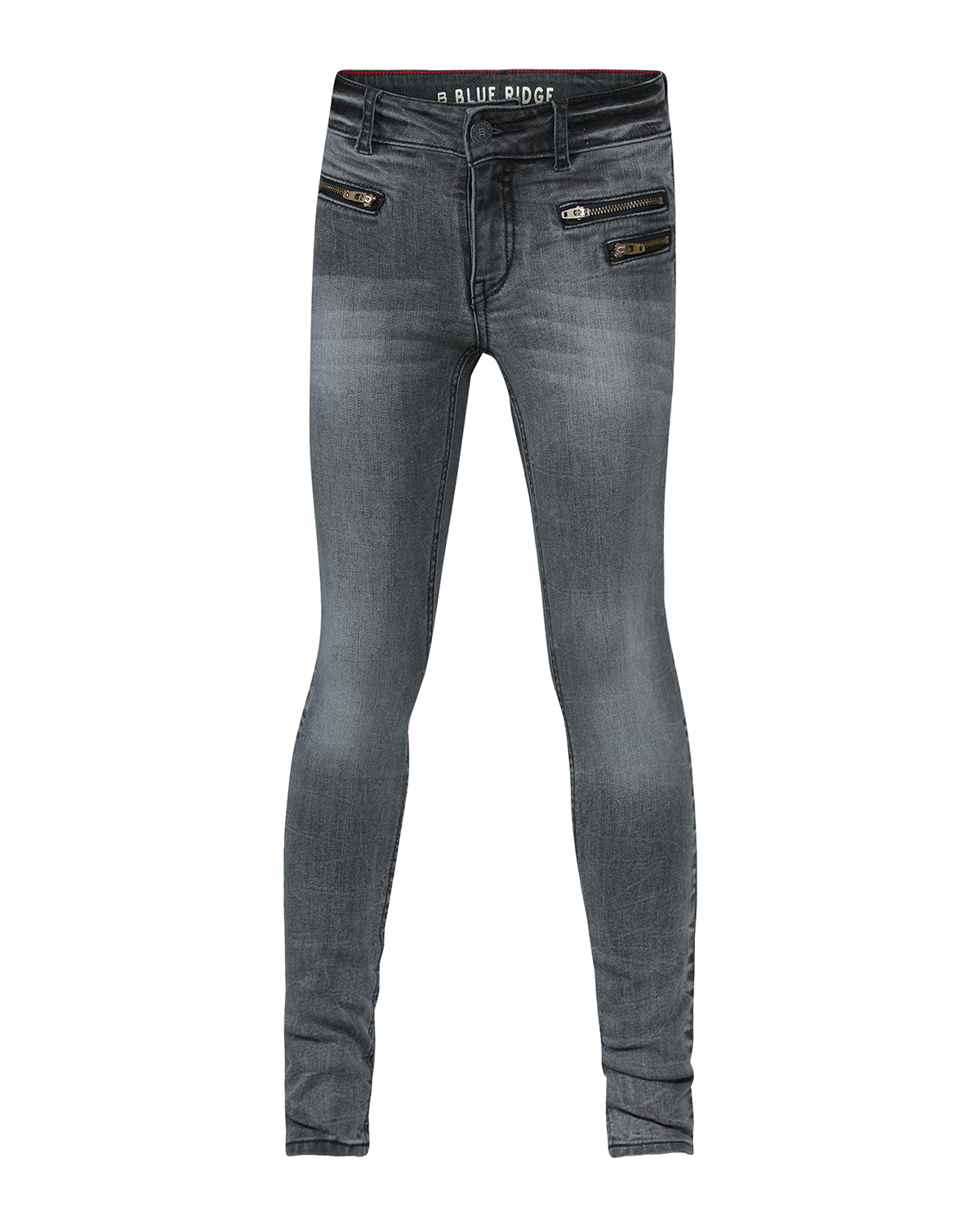 Meisjes super skinny grey denim zipper pocket jeans