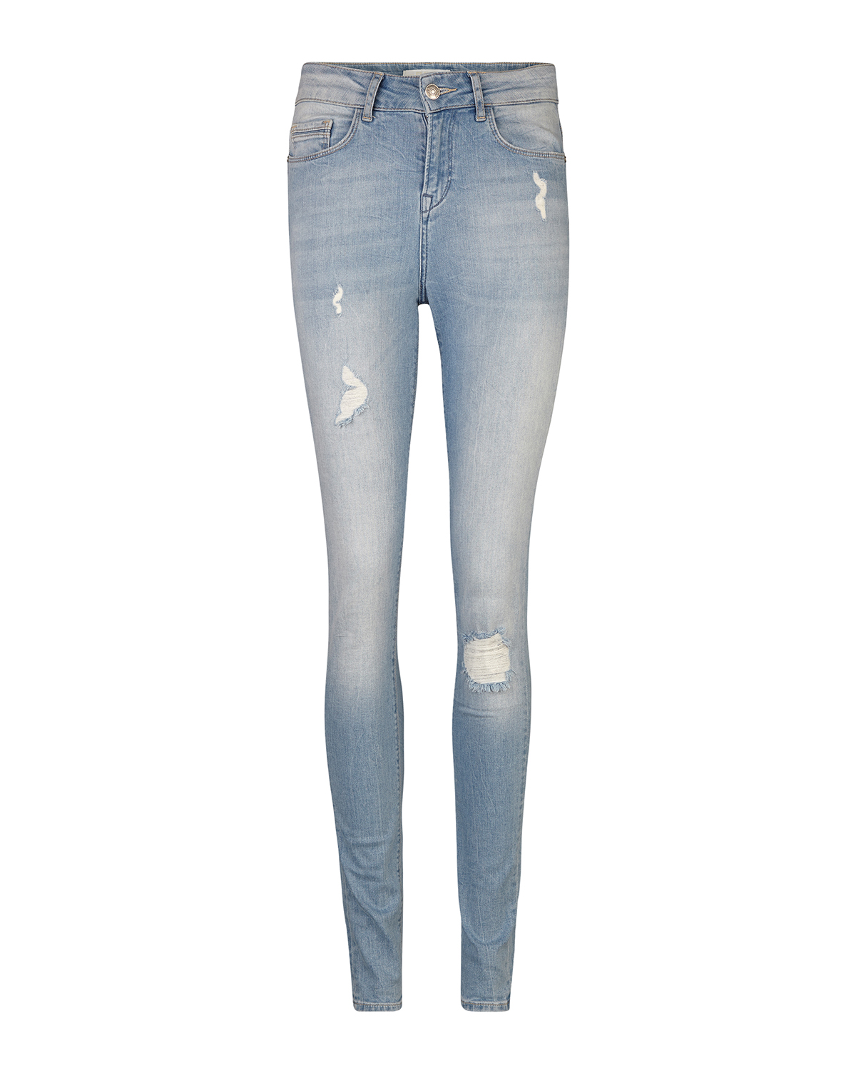 Dames high rise skinny destroyed jeans