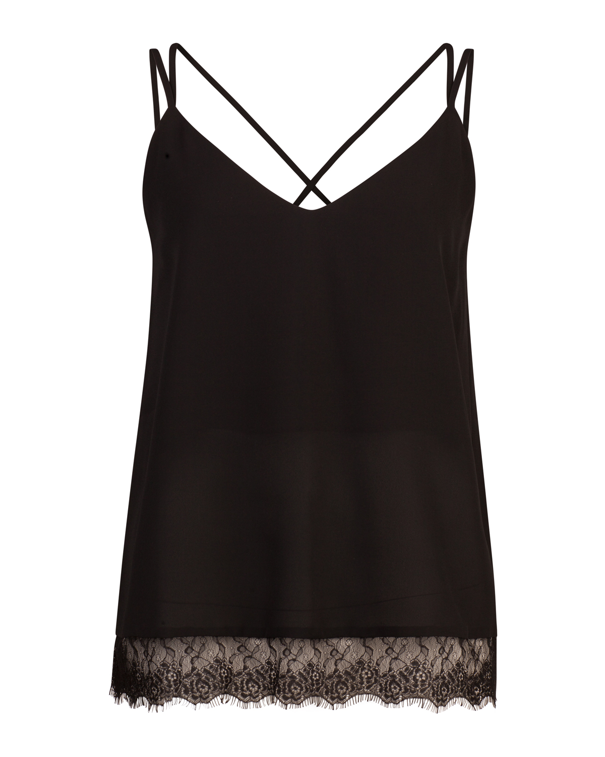Dames lace detail singlet