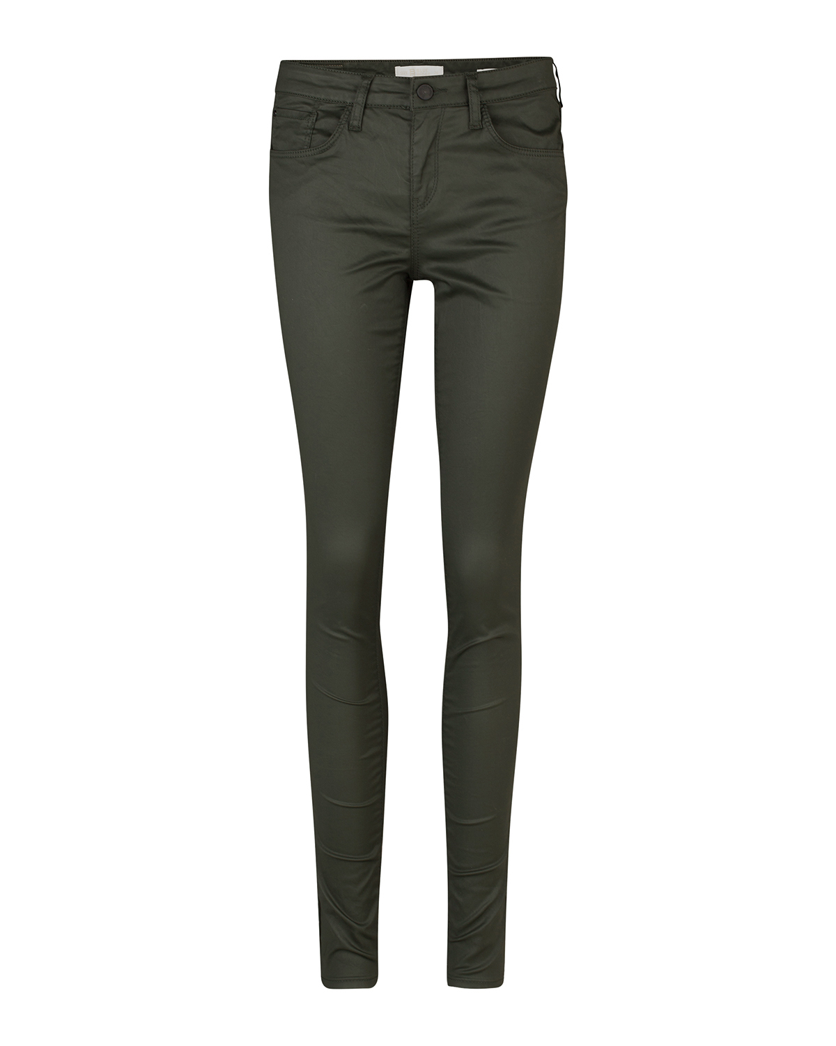 Dames coated super skinny broek