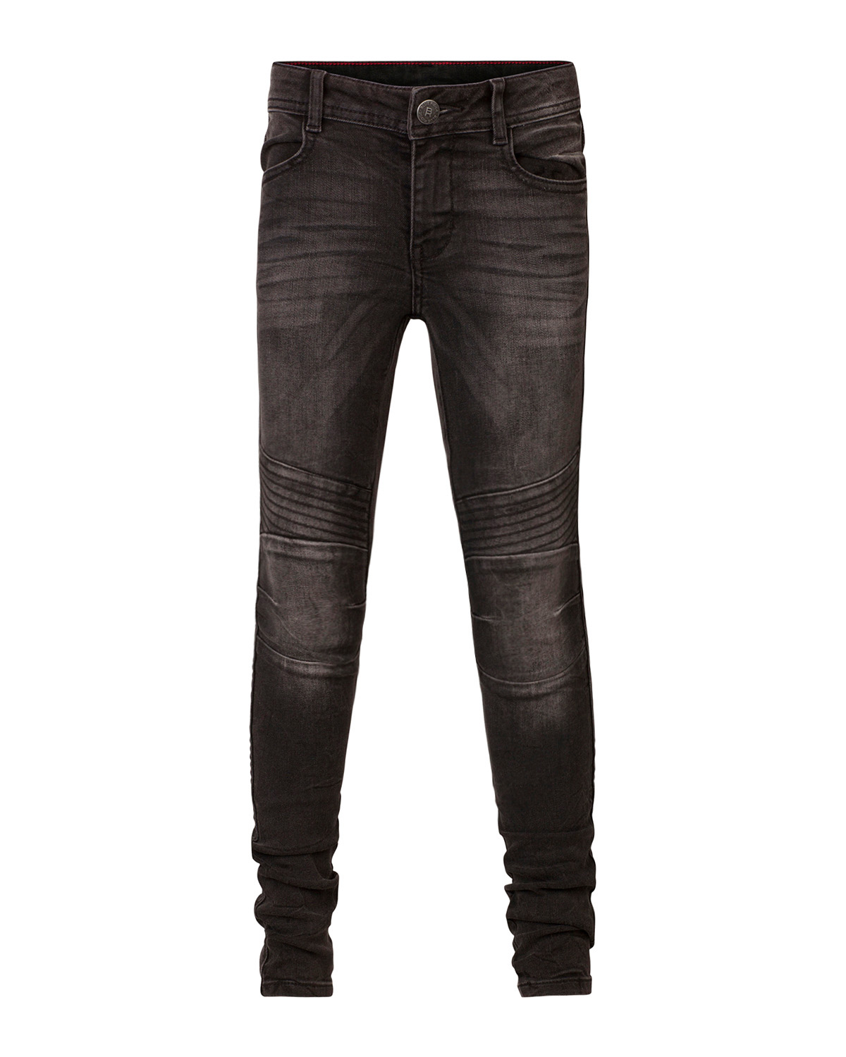 Meisjes super skinny black denim biker jeans