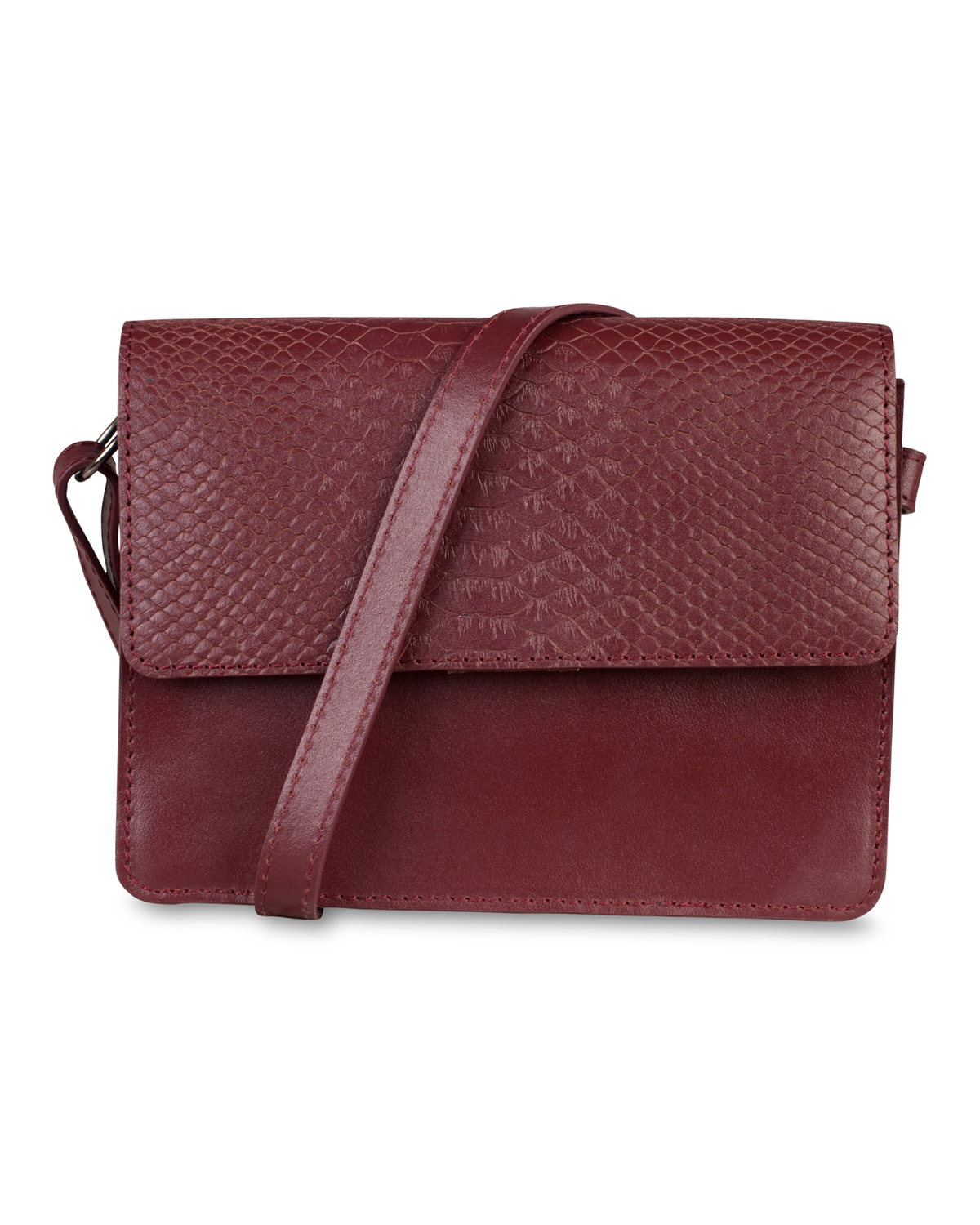 Dames leather croco detail tas