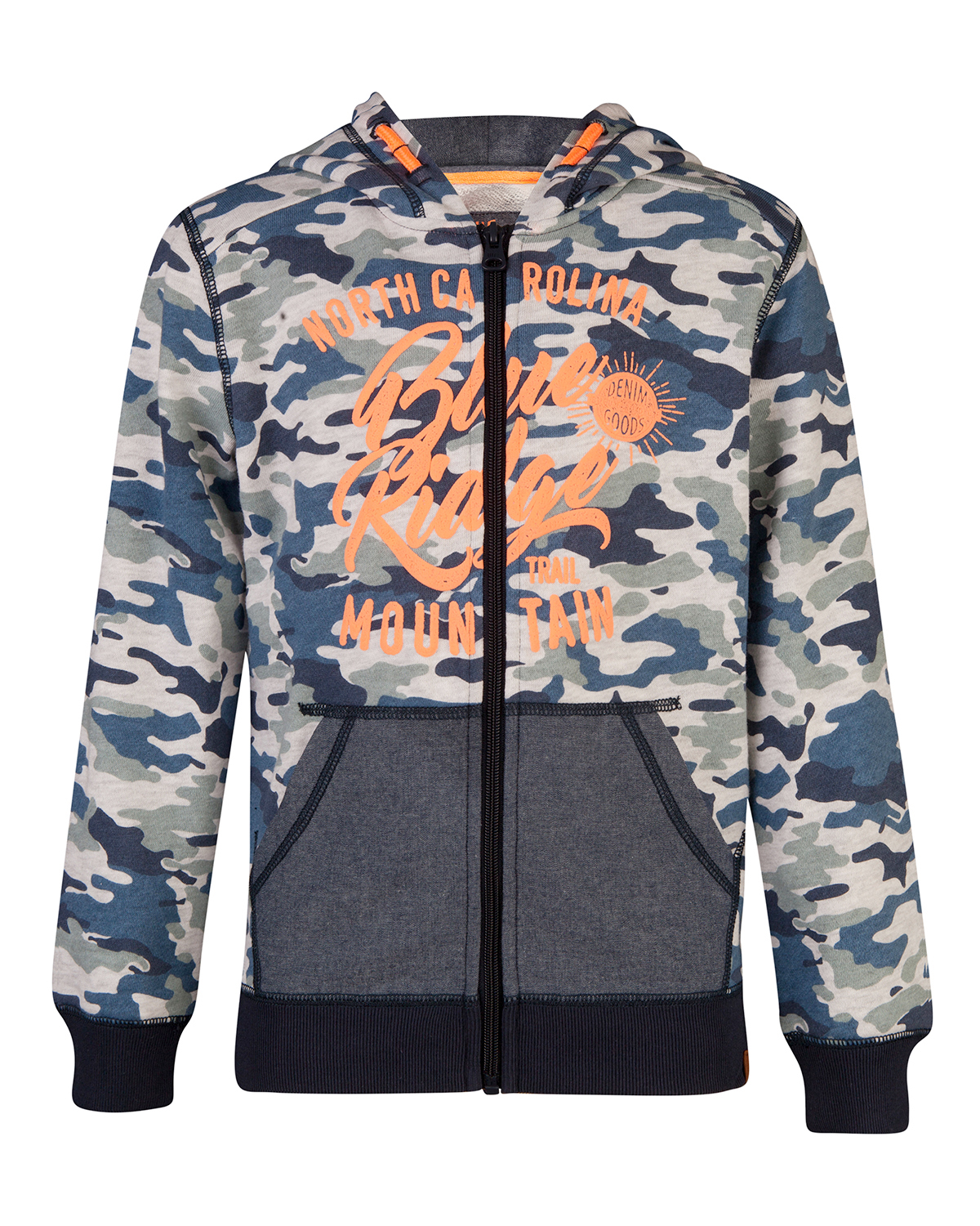 Jongens camo print hooded sweater