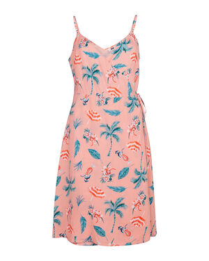 DAMES TROPICAL PRINT WRAP JURK