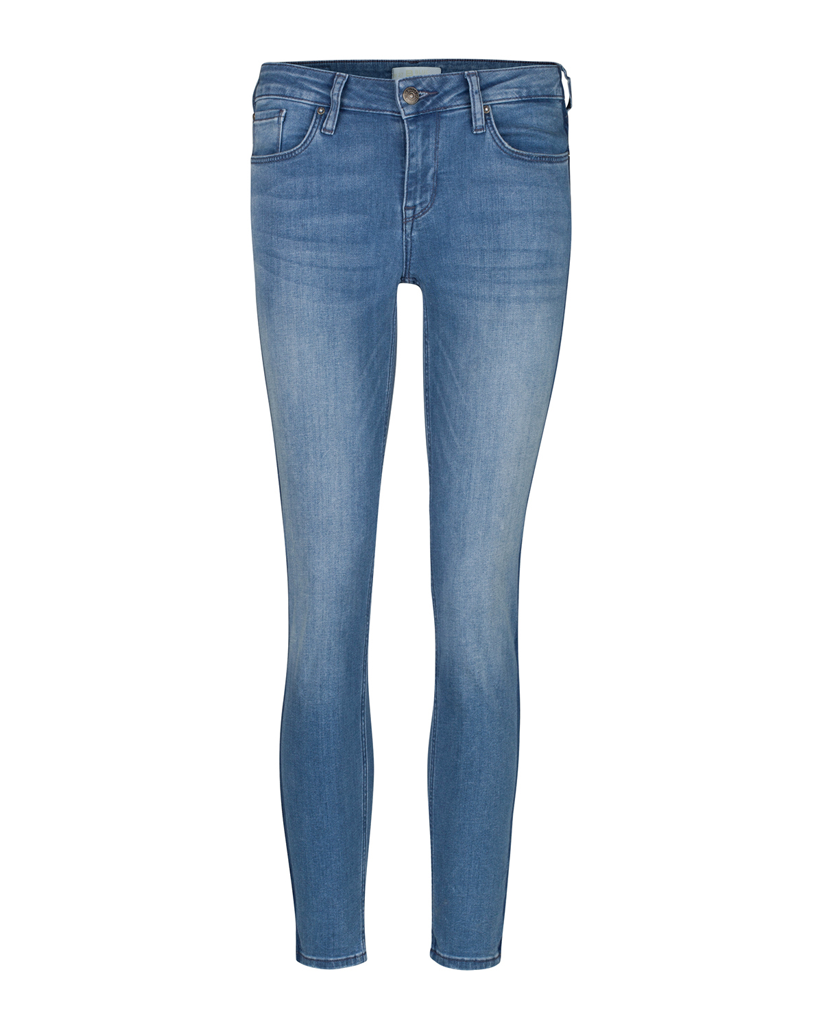 Dames mid rise skinny fit high stretch side stripe cropped jeans