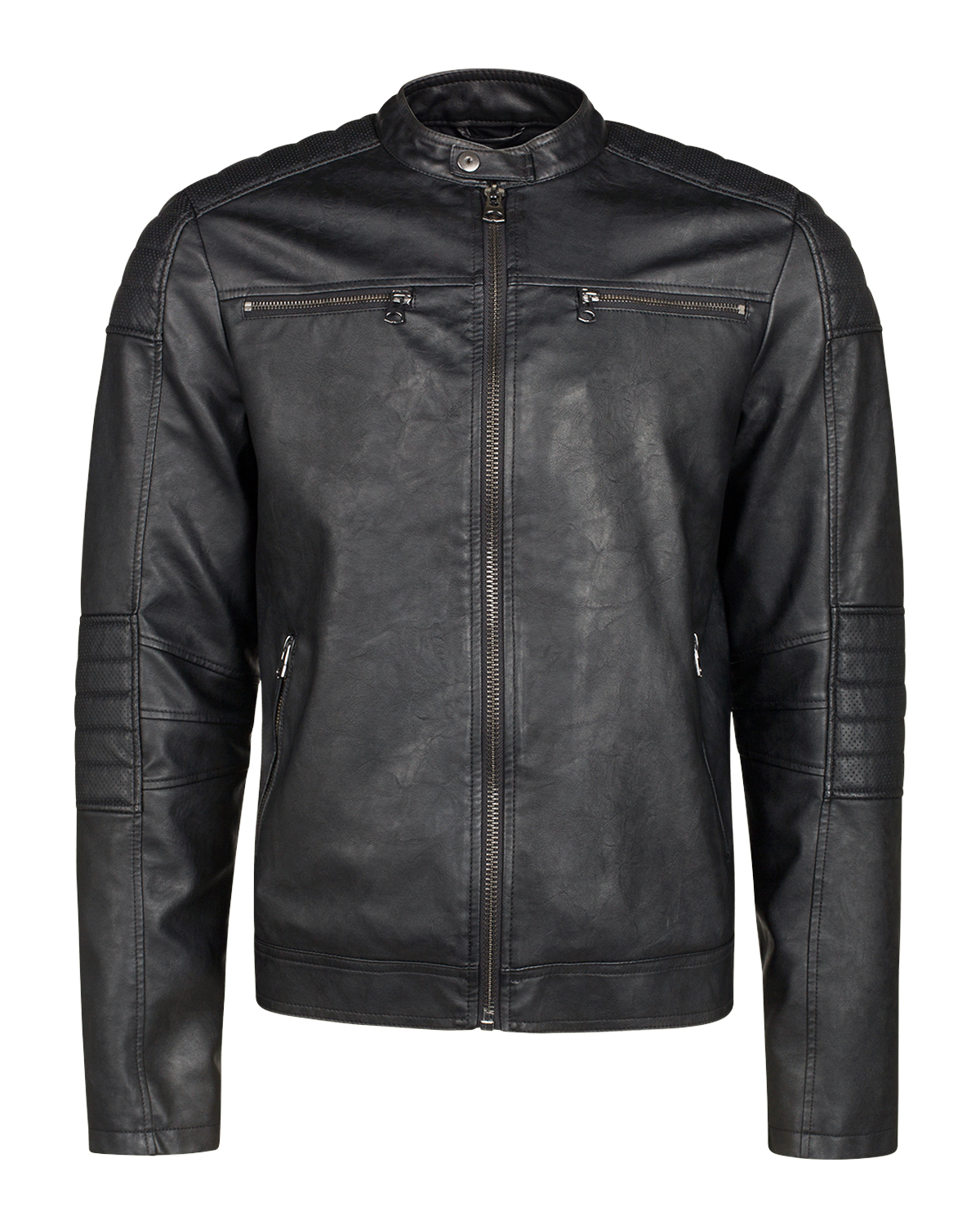 Heren leather look biker jacket