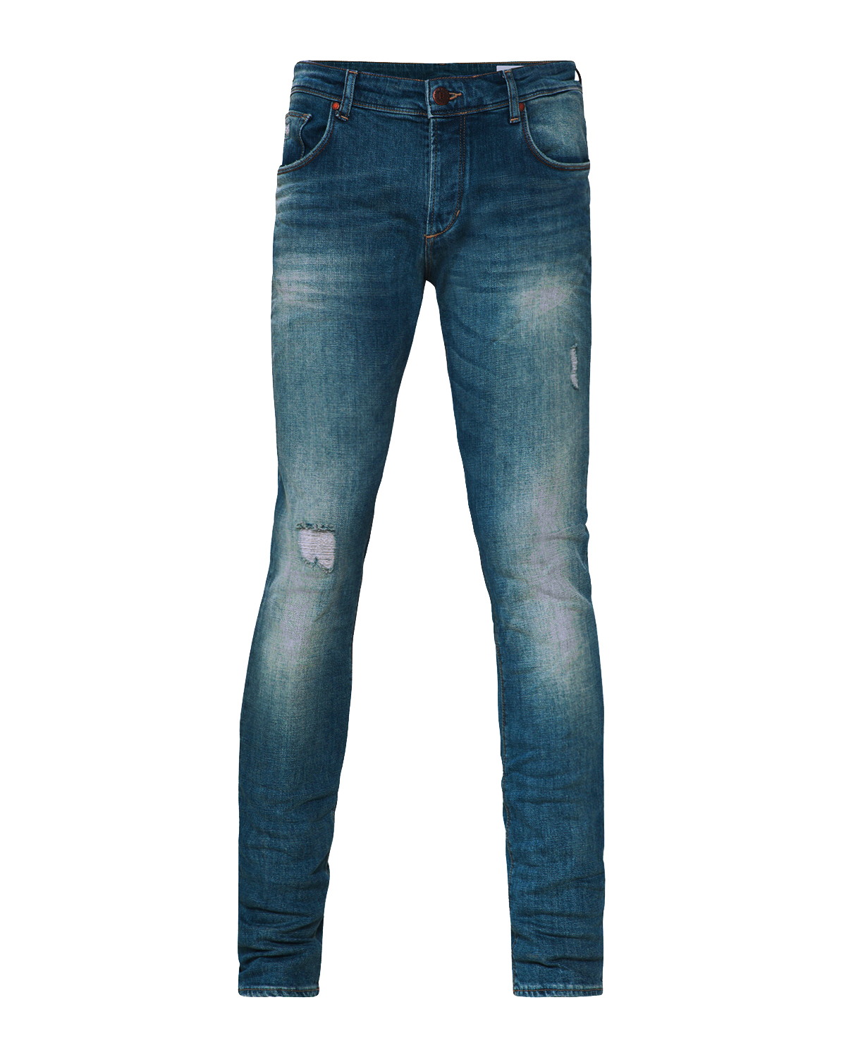 Heren slim tapered comfort stretch damaged jeans