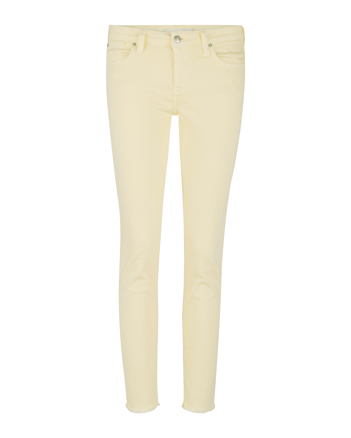 Dames mid rise skinny high stretch cropped coloured broek
