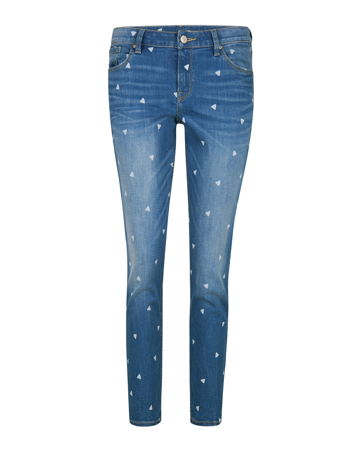 Dames skinny fit triangle print cropped jeans