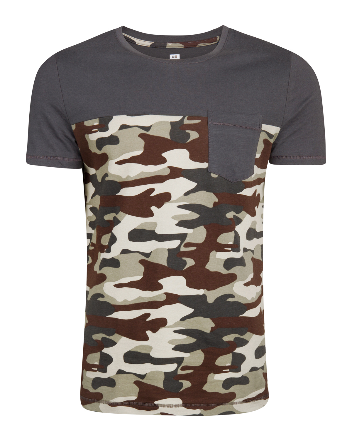 Heren contrast camouflage print t-shirt