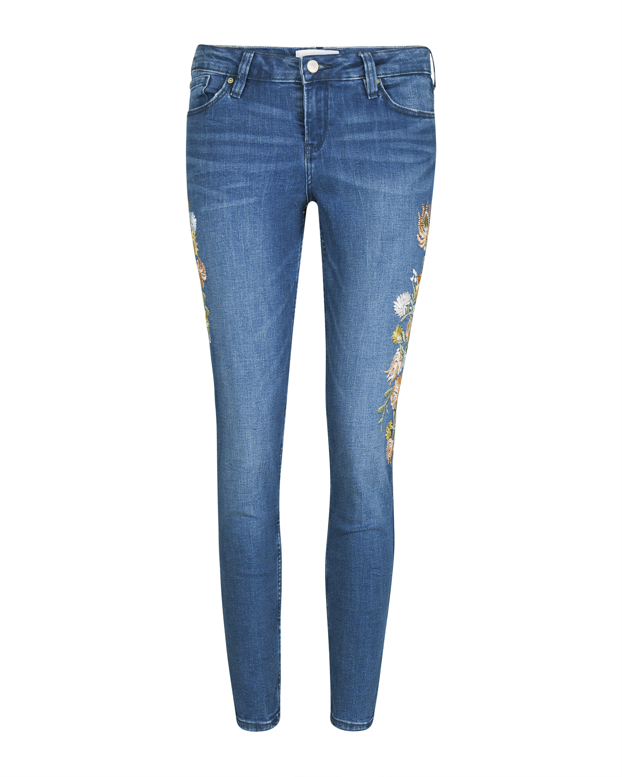 Dames mid rise skinny fit high stretch cropped flower embroidey jeans
