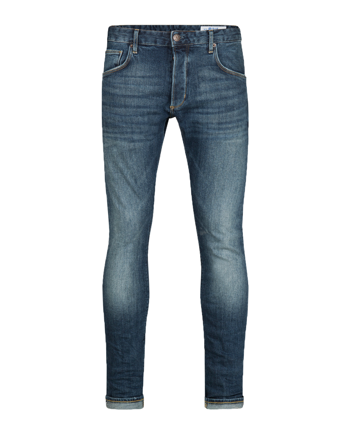 Heren slim tapered comfort stretch selvedge jeans