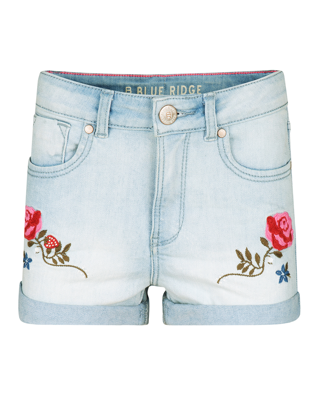 Meisjes super skinny super stretch embroidery denim short