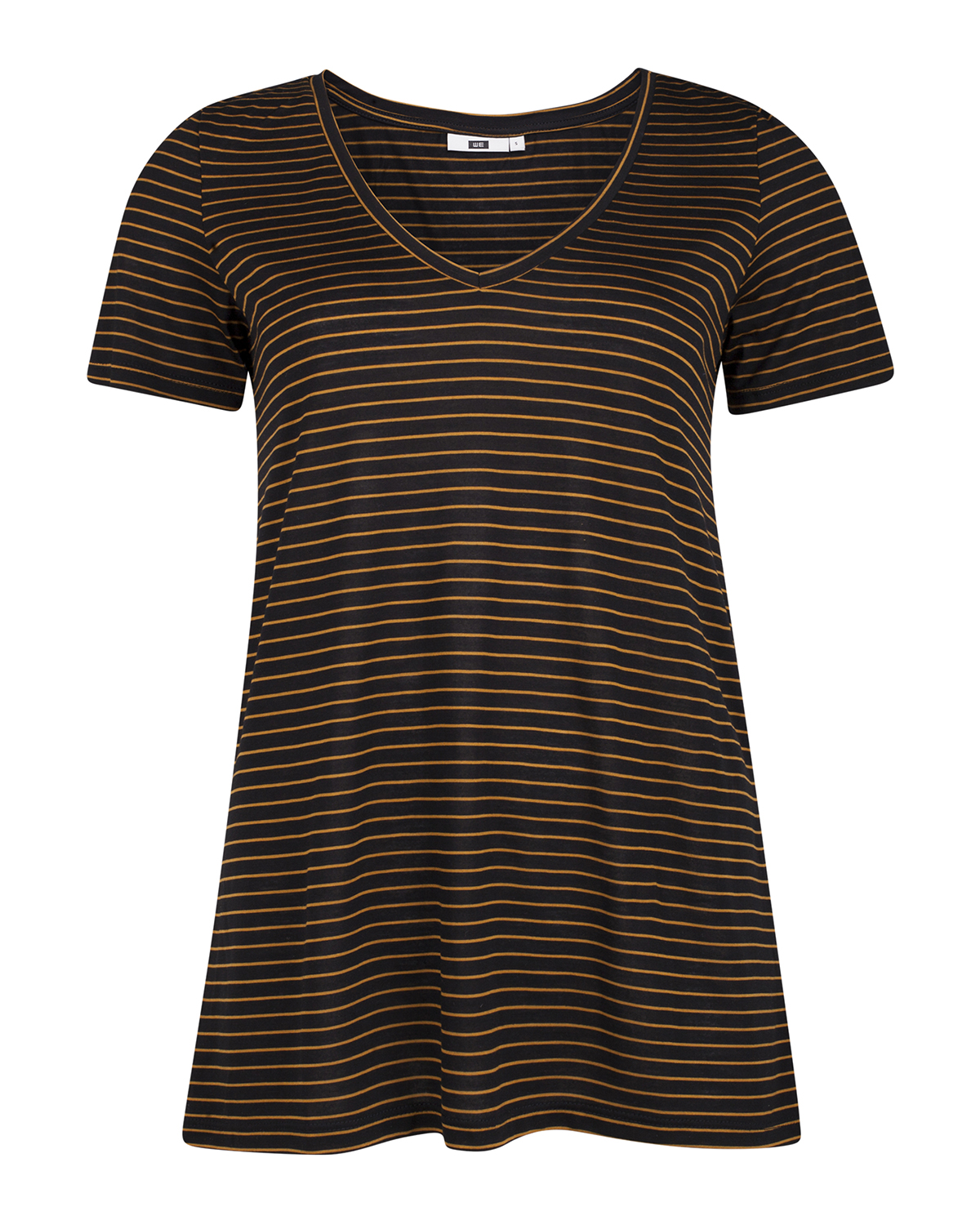 Dames lyocell stripe v-neck t-shirt