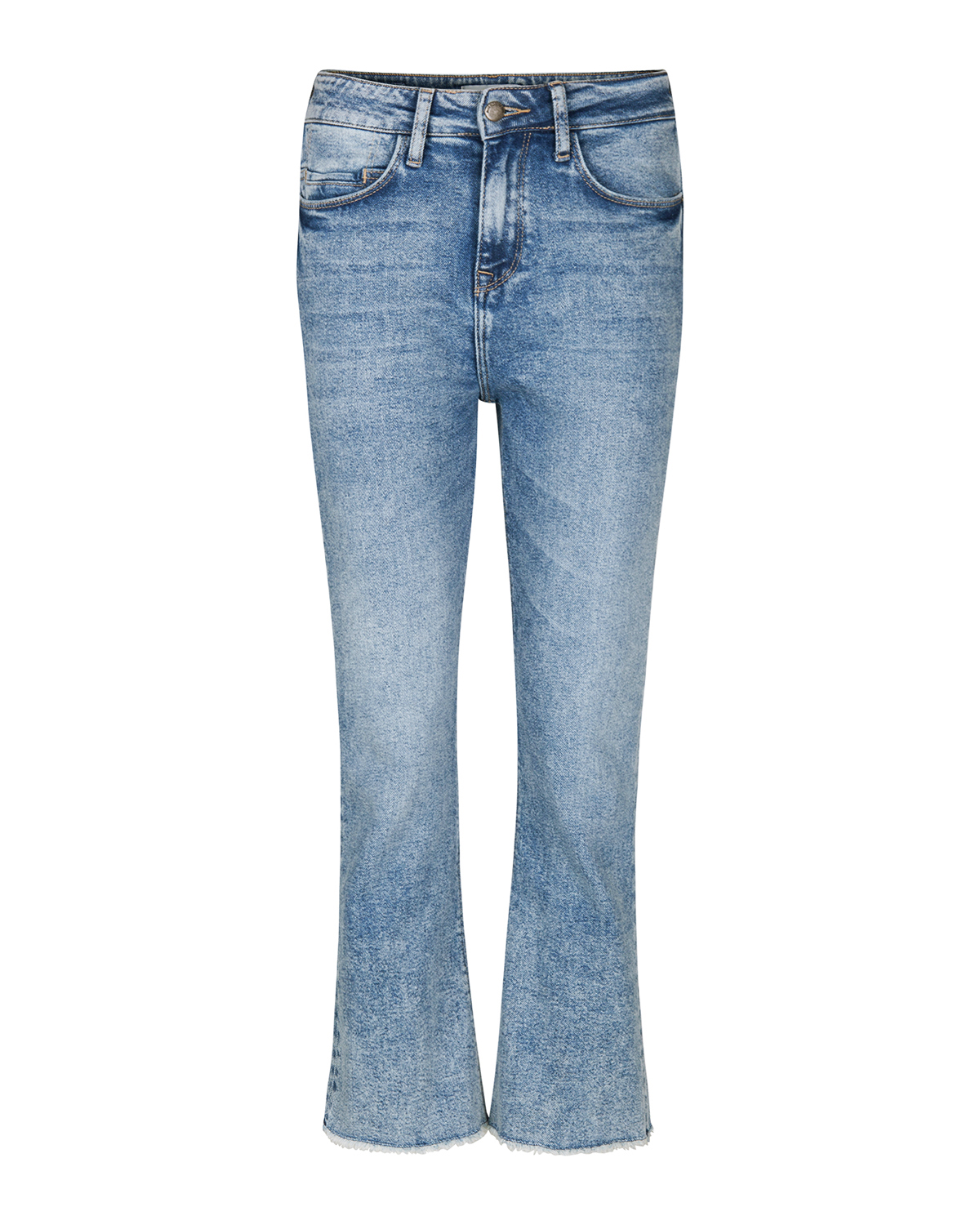 Dames high waist comfort stretch kick flare cropped jeans
