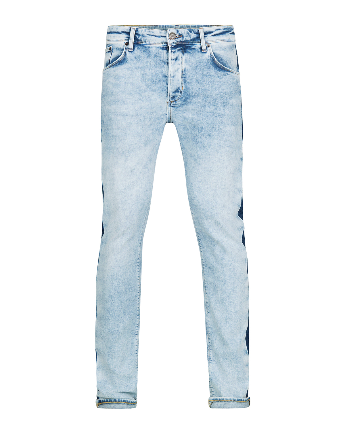 Heren skinny tapered stretch contrast stripe jeans