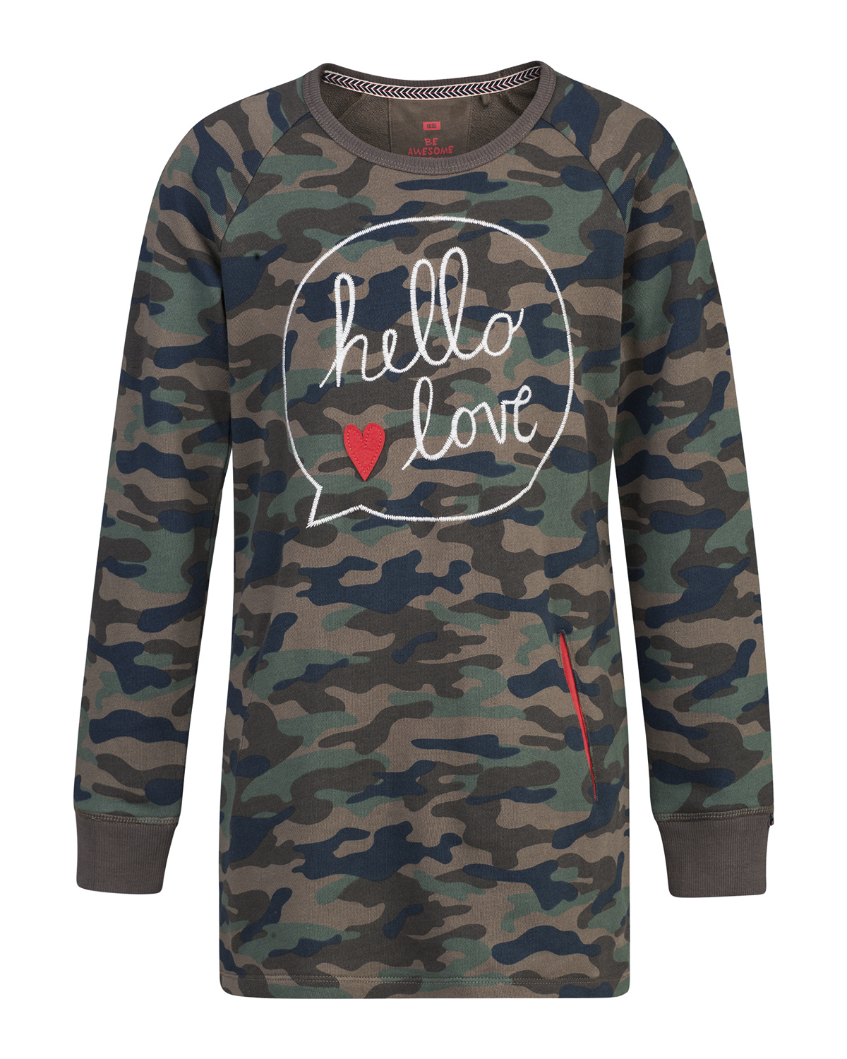 Meisjes camouflage sweater dress