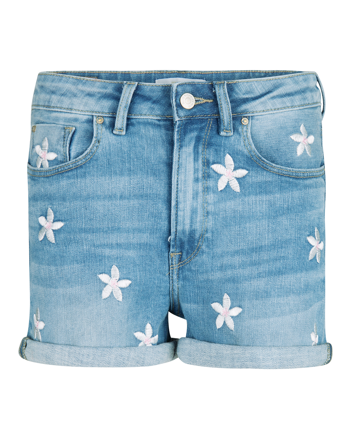 Dames high rise slim fit embroidery denim short